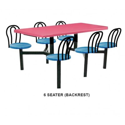 6 seater fiberglass table (with backrest)