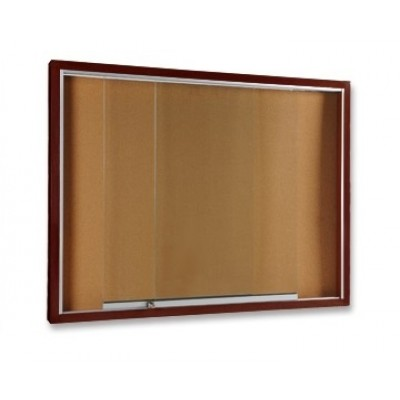 sliding glass notice board wooden frame